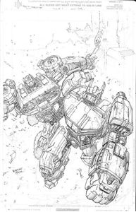Picture of FALL OF CYBERTRON 01 -  B & W COVER ART PRINT