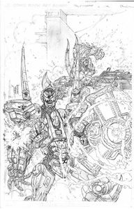 Picture of FALL OF CYBERTRON 03 - B & W COVER ART PRINT
