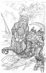 Picture of FALL OF CYBERTRON 06 - B & W COVER ART PRINT