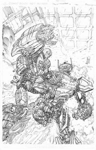 Picture of FALL OF CYBERTRON 04 - B & W COVER ART PRINT
